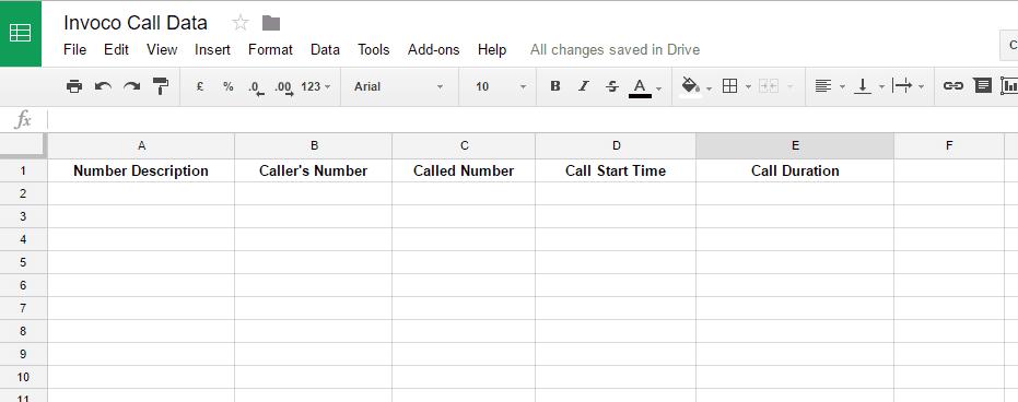 A Google sheet calledInvoco Call Data