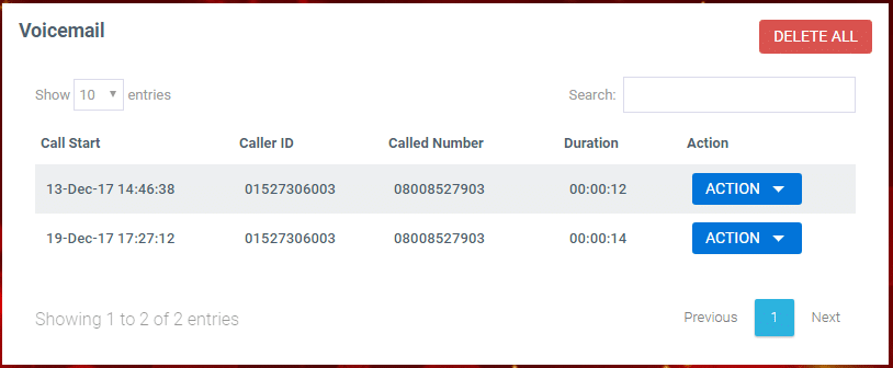 The voicemail tab on the settings page